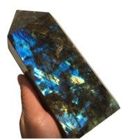 1.5kg Big size Natural labradorite Quartz Obelisk Large Crystal Wand Point quartz crystal gemstone tower reiki healing