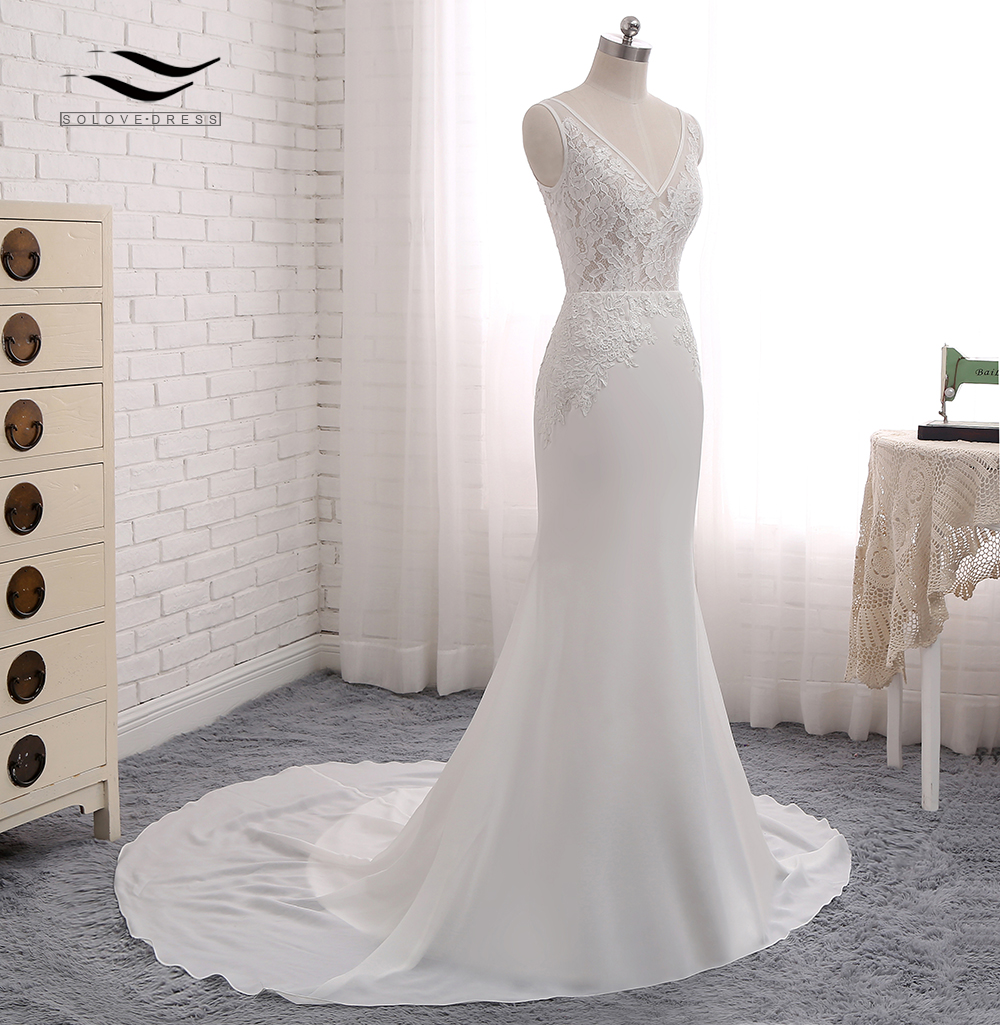 Sexy Chiffon Chapel Train Long Cap Sleeves Wedding Dress Mermaid Real Photos Bridal Gown 2018 SLD-W593 5