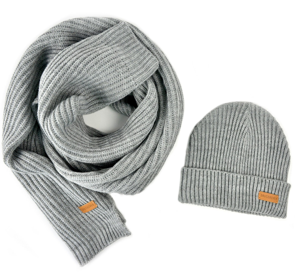 BRUCERIVER Men Women Knit Scarf & Hat Beanie 2PC Set Heather Color Winter