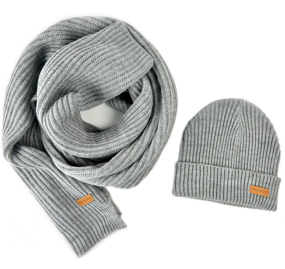 BRUCERIVER Men Women Knit Scarf & Hat Beanie 2PC Set Heather Color Winter