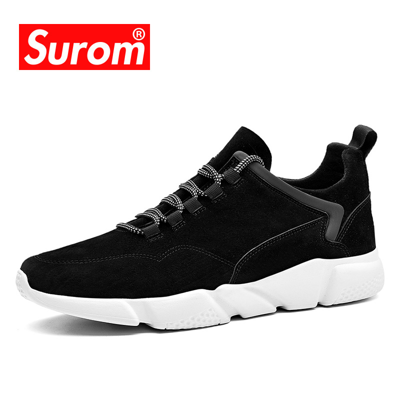 SUROM Men's Casual Shoes Lightweight Sneakers 2018 Spring Autumn Fashion Breathable Shoes Men Brand Lace up Designer Krasovki high quality men casual shoes fashion lace up air mesh shoe men s 2017 autumn design breathable lightweight walking shoes e62