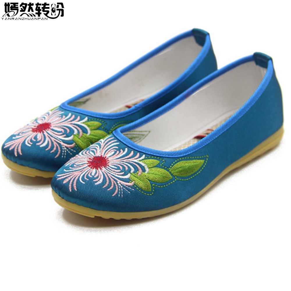 Vintage Women Shoes Flats Chinese Bride Wedding Old Beijing Satin National Floral Embroidery Breathable Soft Ballet Shoes Woman women flats old beijing floral peacock embroidery chinese national canvas soft dance ballet shoes for woman zapatos de mujer