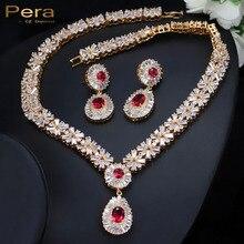 PERA CZ Классический кубический цирконий золото Цвет нигерийской свадьбы Африканский костюм большой себе комплект ювелирных изделий с Красный Кристалл Камень J060