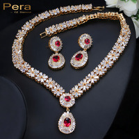 18K Real Gold Filled Nigerian Wedding African Costume Statement CZ Diamond Jewelry Sets With Ruby Crystal