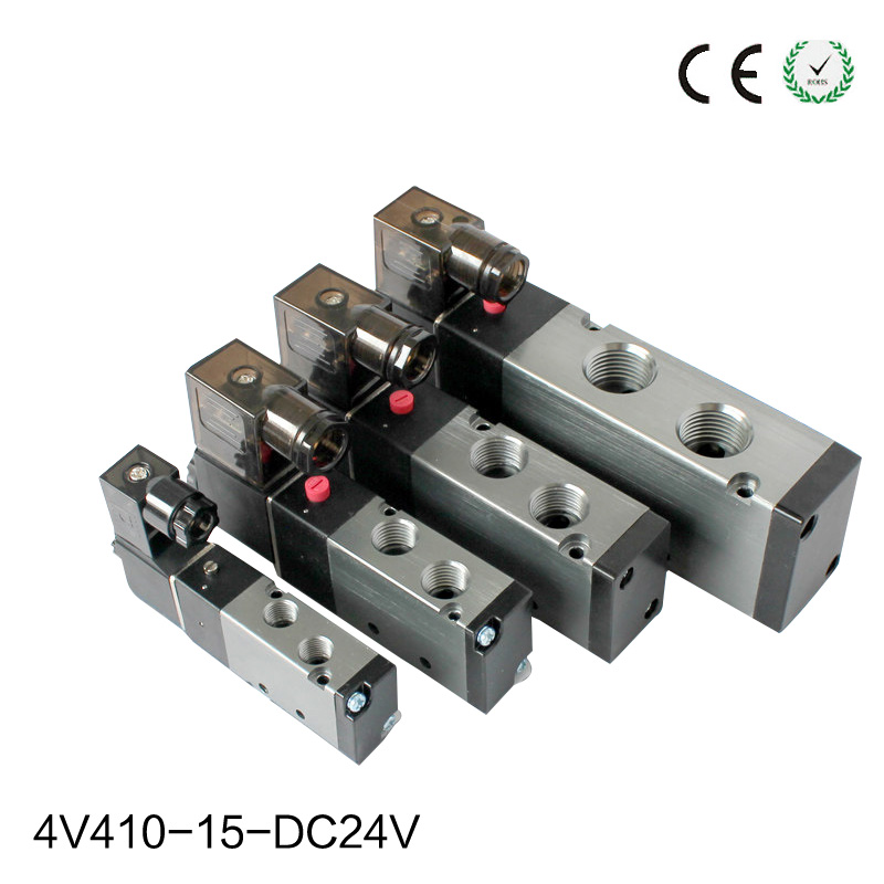 4V410-15 Pneumatic Solenoid Air Valve Port 1/2 BSP 24V DC 5 Way Electric Control Valve With Plug Red LED Light free shipping air solenoid valve 4v330c 10 double coil 3 8 bsp ac110v 5 3 way control valve plug type with red indicator light