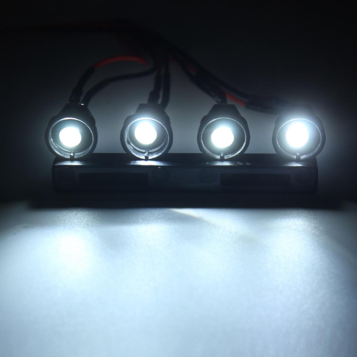 Upgrade Headlights 4Pcs LED Light Set w// Base For WPL C14 C24 RC Car Truck