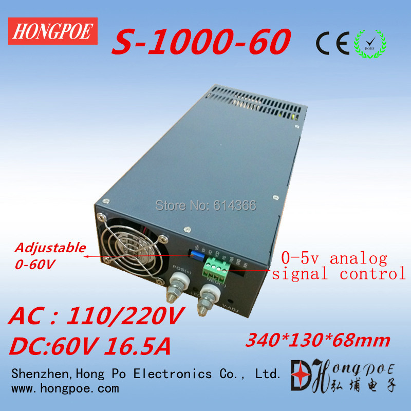 1000W 0-60V power supply S-1000-60 0-5V analog signal control 60V power supply 60V 16.5A AC110 or 230V input