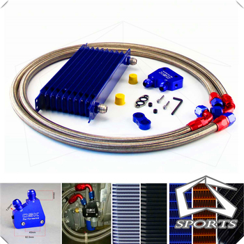 Universal 10 Row Motor Oil Cooler Kit Azul + adaptador Sandwich Placa Para LS1 LS2 LS3