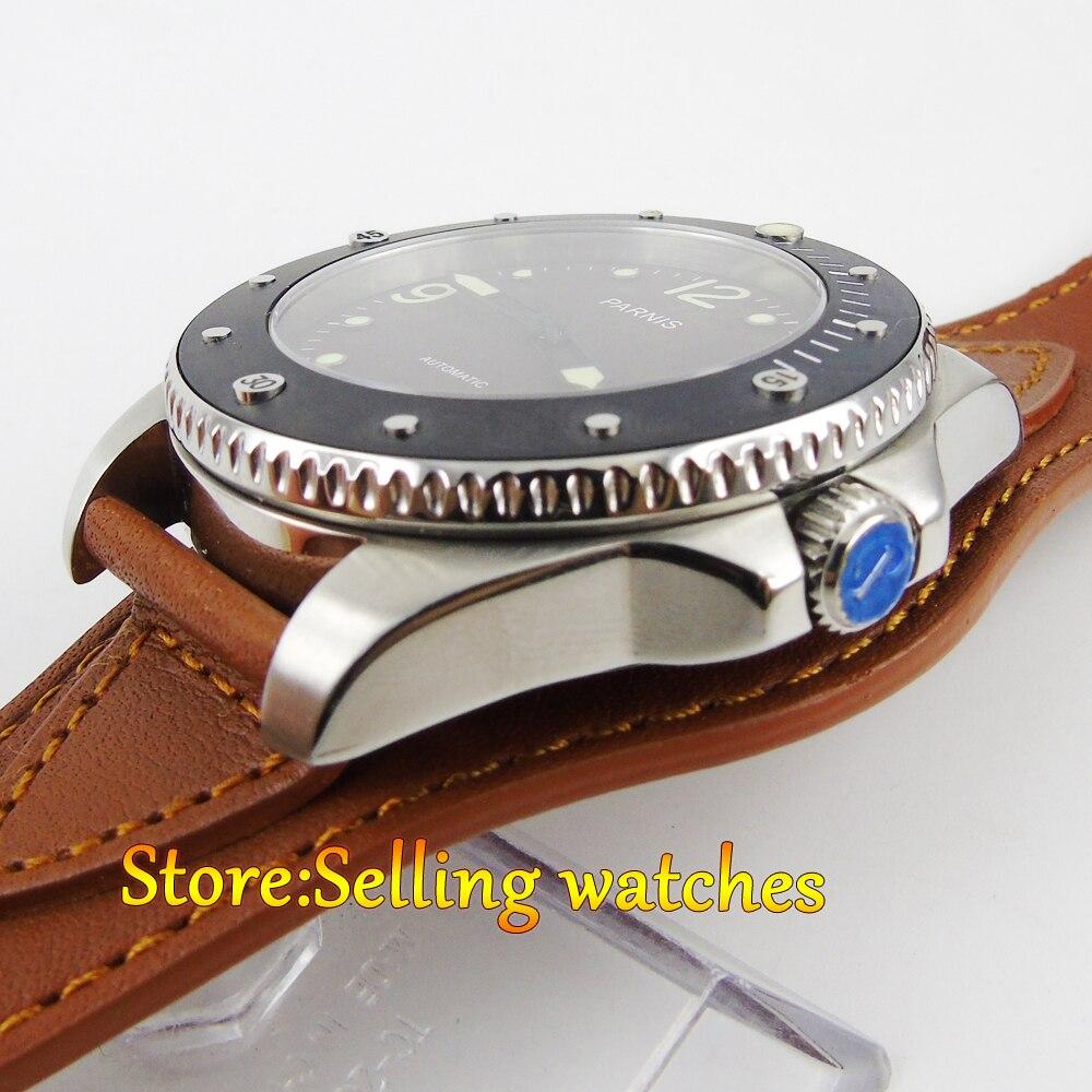 Парнис 43 мм Кофе циферблат механические сапфировое стекло Miyota Автоматическая Мужские часы