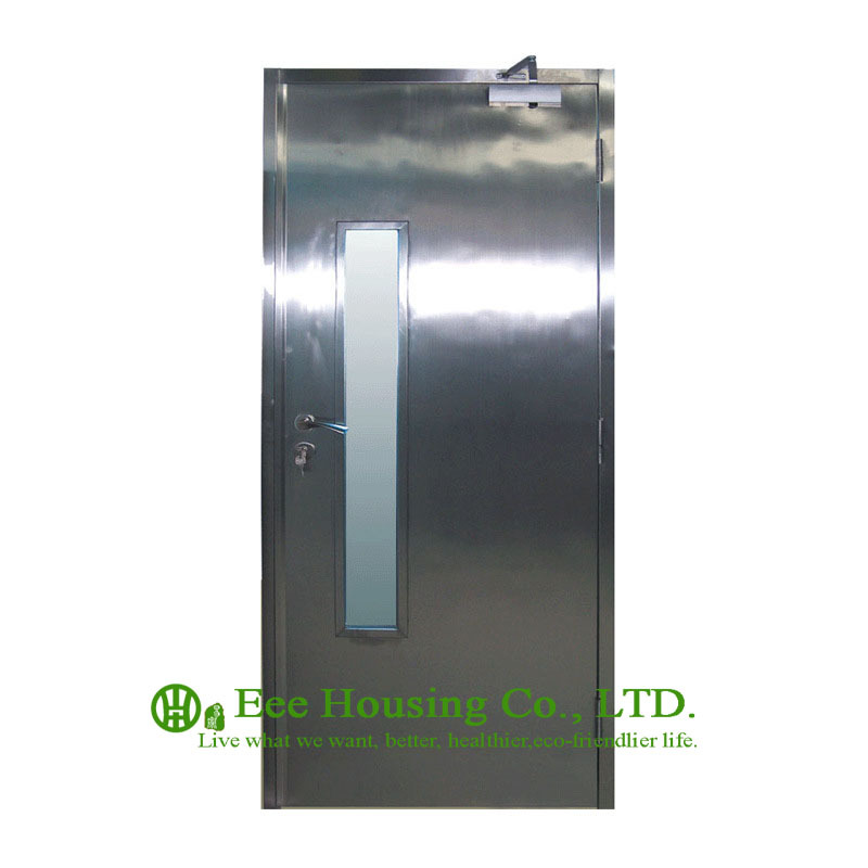 Flush Stainless Steel Doors And Frames With Glass Lites, Custom Designed Fire Break Door