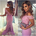 Sexy V Neck Mermaid Chiffon Lace Appliques Cheap Long Lavender Prom Dresses Gowns 2016 Abendkleider Backless Court Train 51284