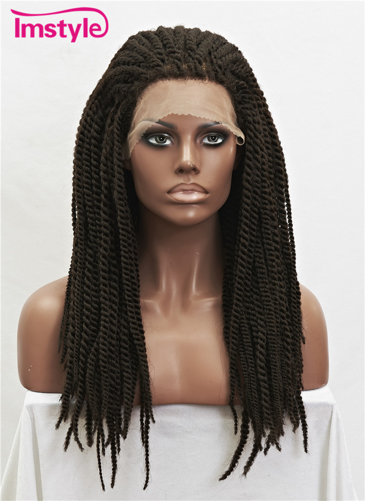 Imstyle Braided Wigs Synthetic Lace Front Wigs For Women 22 Inch African Heat Resistant Fiber