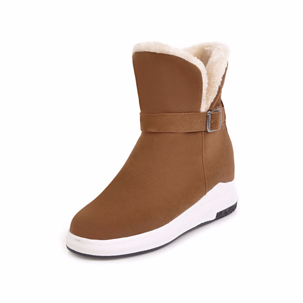 Women Winter Warm Plush Snow Boots 2017 Lady Fashion Fur Lining Thick Heel Casual Solid Black Brown Beige Boots Big Size 34-43