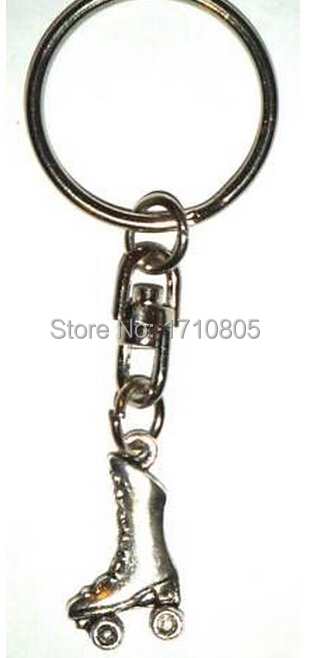 10pcs/Lot New Fashion Jewelry Vintage Silver Roller Skate Charm Fit Key Chain Ring Keyring Chains Accessories Free Shipping A627