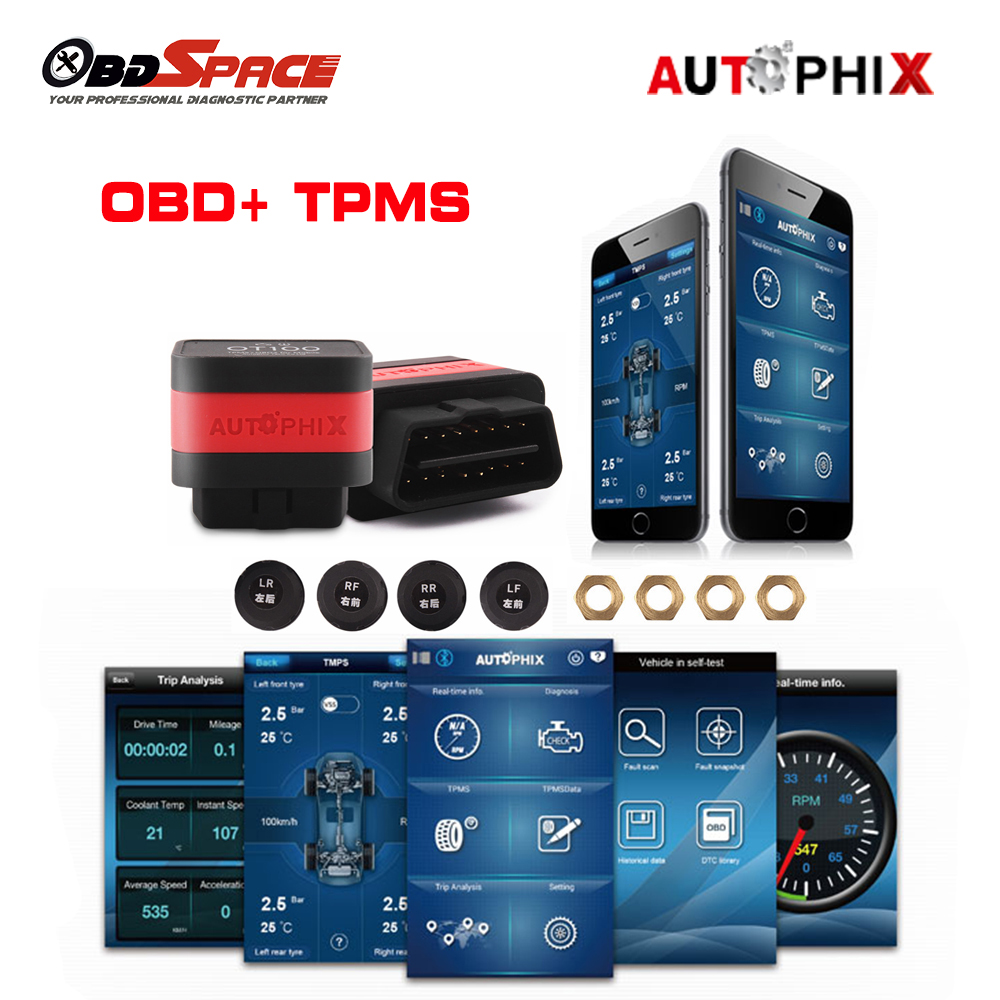 Autophix OT100 OBD2 Scanner+ Tire Pressure Alarm System with 4 TPMS Sensor OBD TPMS 2in 1 for android and IOS Bluetooth Adapter structure sensor 3d scanner