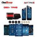 Autophix OT100 Obd2 + Sistema de Alarma con 4 TPMS de Presión de Neumáticos Sensor TPMS OBD Adaptador 2in 1 para android y IOS Bluetooth