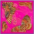 100 cm * 100 cm Sarja De Seda de Seda Das Mulheres Quadrados da Tração da Mão Pintura de Seda De Impressão Borboleta Cachecol Femal Alta Qualidade Retro Marca Xale 3107