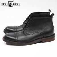 Винтажные мужские ботильоны из натуральной кожи; сезон весна осень; черные ботинки с круглым носком; полуботинки броги ручной работы