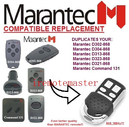 Universal remote control for MARANTEC Command 131 D302 D304 D313 D323 D321 868MHZ marantec command 131 433 d302 433 d304 433 d313 433 d321 433 d323 433 repalcement remote control 433mhz free shipping