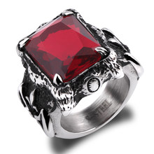 Grand anneau pour hommes en acier inoxydable, 316l, CZ, rouge, noire, Fleur De Lis Vintage gothique