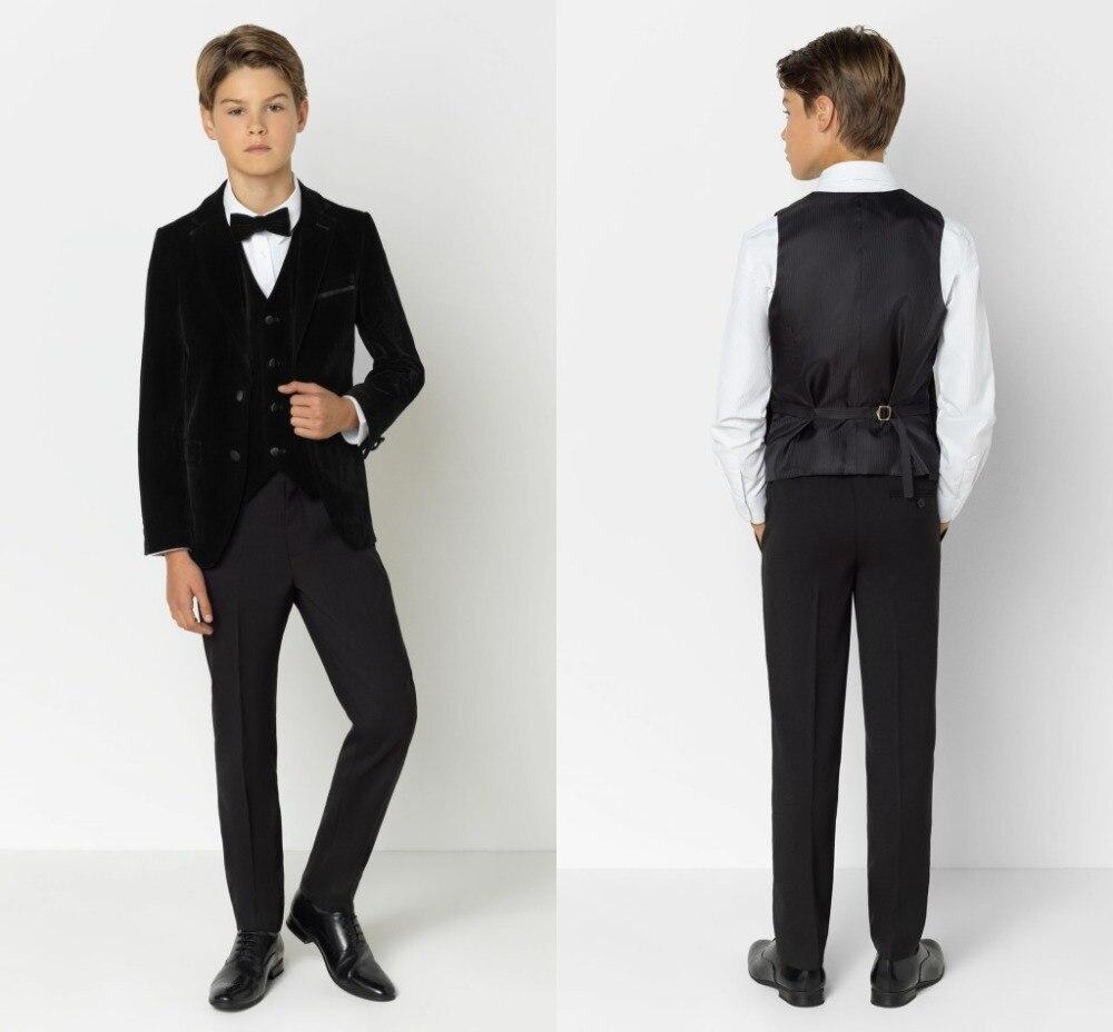 2019 New Arrival Boys' Attire Peaked Lapel Kids Suits Fashion Children Clothing Set 3 Pieces Prom Suits (Jacket+Pants+Tie+Vest)