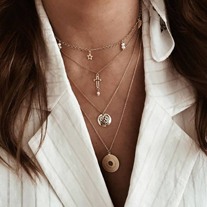 Bohemian Multi layer Pendant Necklaces For Women Fashion Golden Round Charm Chains Necklace Jewelry Gife Wholesale