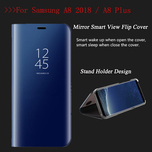low priced 19d72 8701e US $9.98 |Luxury Flip Cover Leather Smart Chip Case For Samsung Galaxy A8  Plus A8+ Clear View Standing Mirror Case for Samsung A8 2018-in Fitted  Cases ...