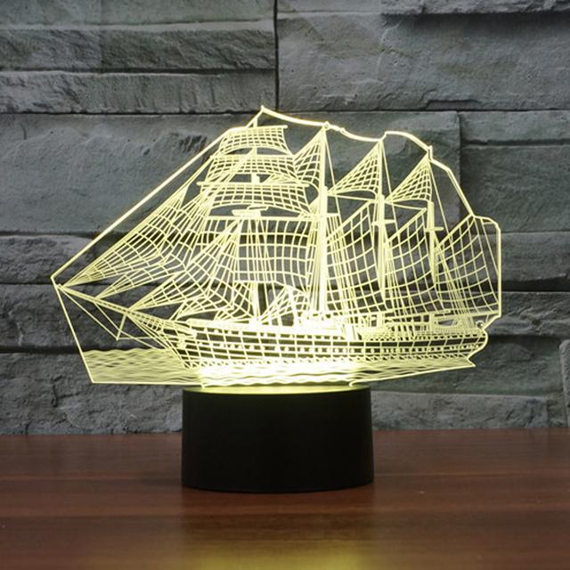 Forma velero Ilusión 3D LED Luz de La Noche de Acrílico Colorido Niños Bebé Dormitorio Lámpara De Mesa Táctil Interruptor USB 7