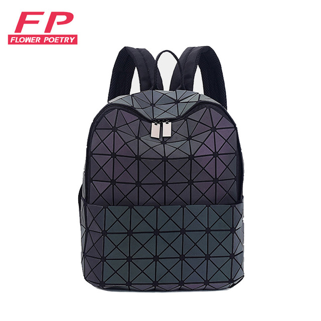 New Bao Bag Backpacks Women Geometric Patchwork Diamond Backpack For Teenage  Drawstring Bag mochila School bag for Girl 2018 73244035e11d1