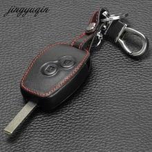Jingyuqin Funda de cuero para Nissan Almera Renault Clio Dacia Logan Megane Espace Kangoo Duster Twingo 2BTN, funda de llave de control remoto para coche