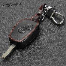 jingyuqin Leather Cover For Nissan Almera Renault Clio Dacia Logan Megane Espace Kangoo Duster Twingo 2BTN Car Remote Key Case