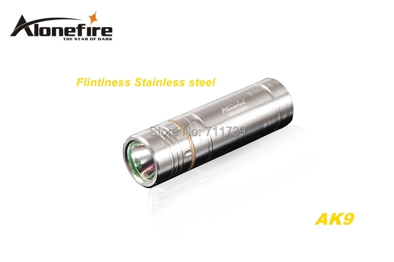 AloneFire AK9 CREE XPE R2 LED 5 mode Stainless steel Exquisite craft mini flashlight torch For 16340 or CR123A battery