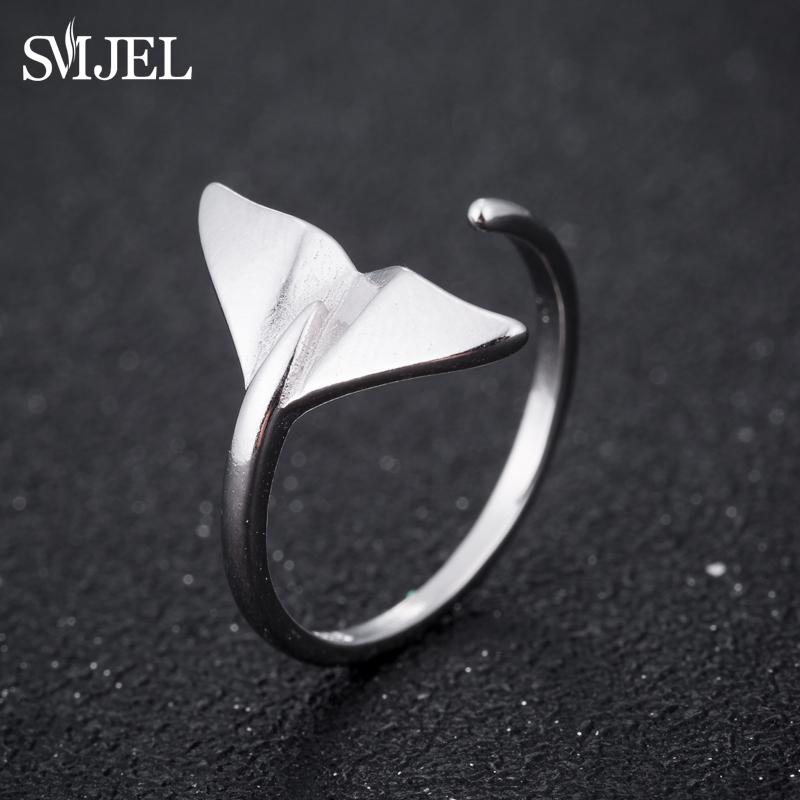 SMJEL Fashion Sliver Jewelry Mermaid Tail Cuff Rings Anel Sea Whale Fish Tail Bague Rings Men Romantic Sieraden Gifts Wholesale