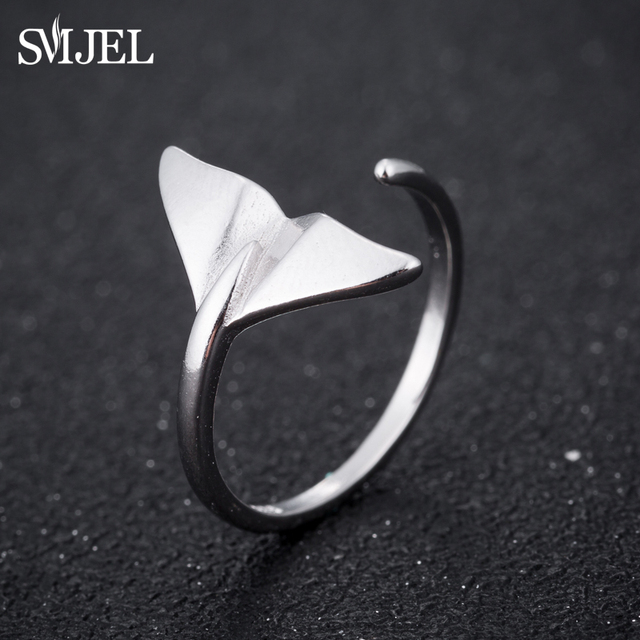 SMJEL Fashion Silver Jewelry Mermaid Tail Cuff Rings Anel Sea Whale Fish Tail Ba
