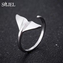 SMJEL – Bague queue de sirène en argent pour hommes, bijoux à la mode, anneaux de manchette, queue de baleine de mer, cadeaux romantiques, vente en gros