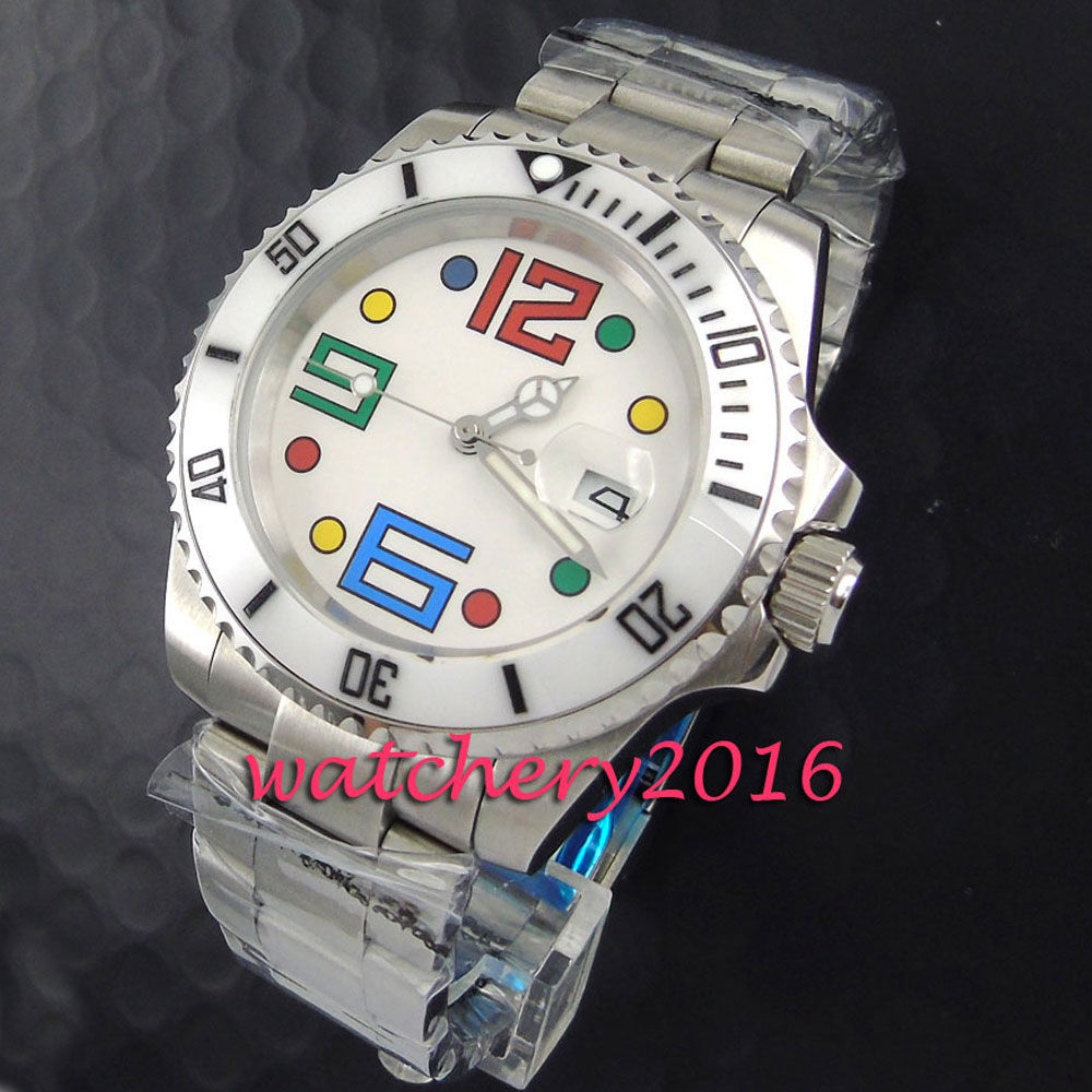 Здесь продается  Fashion 40mm Parnis white dial colorful numbers Sapphire Glass Automatic Men