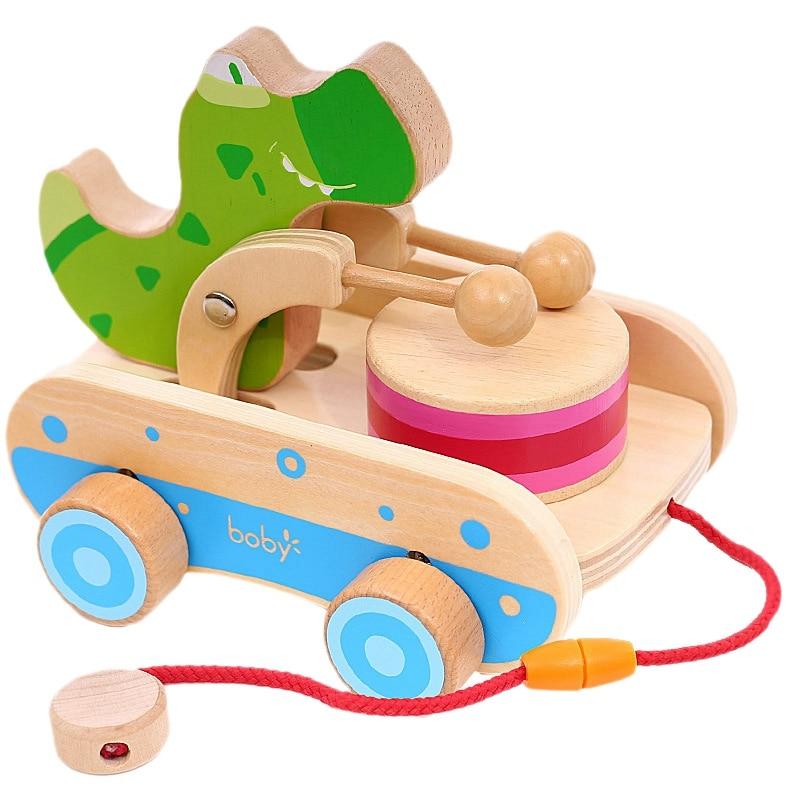 Children Cartoon Animal Wooden Cart Toy Cute Safe Wooden Toddler Toy Car Walking Wheel Crocodile Toy