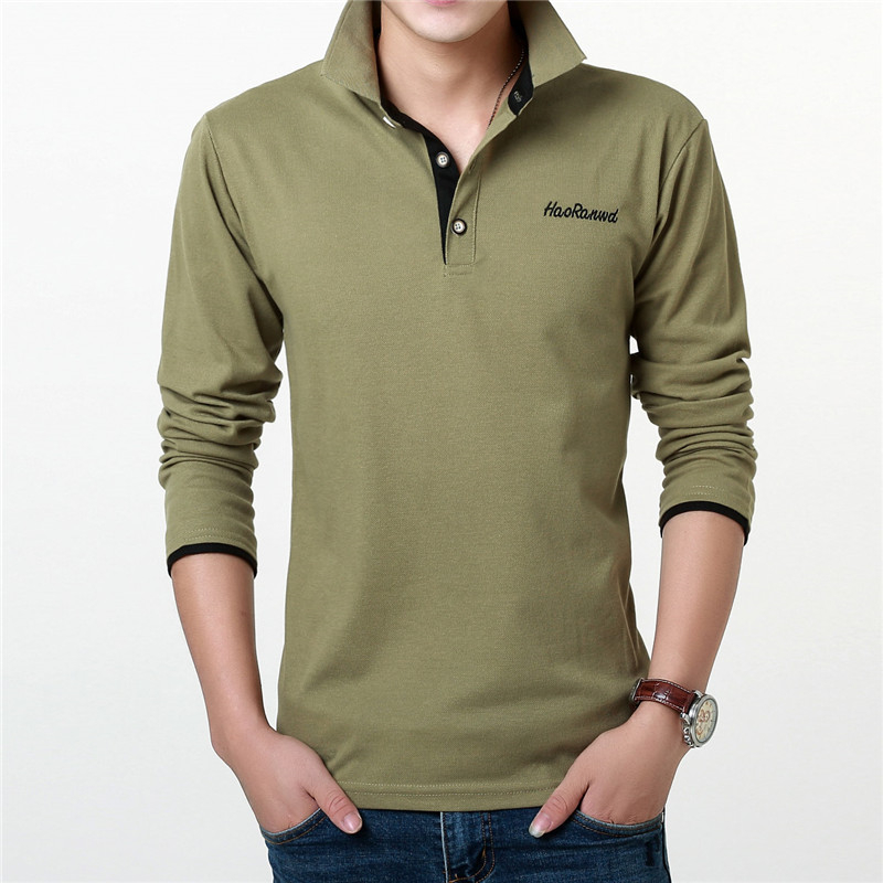 POLO   Long Sleeve Top Men's Solid Color Lapel Business   Polo   Shirt Men's Jersey Cotton Comfortable Breathable Bottom   Polo   Shirt