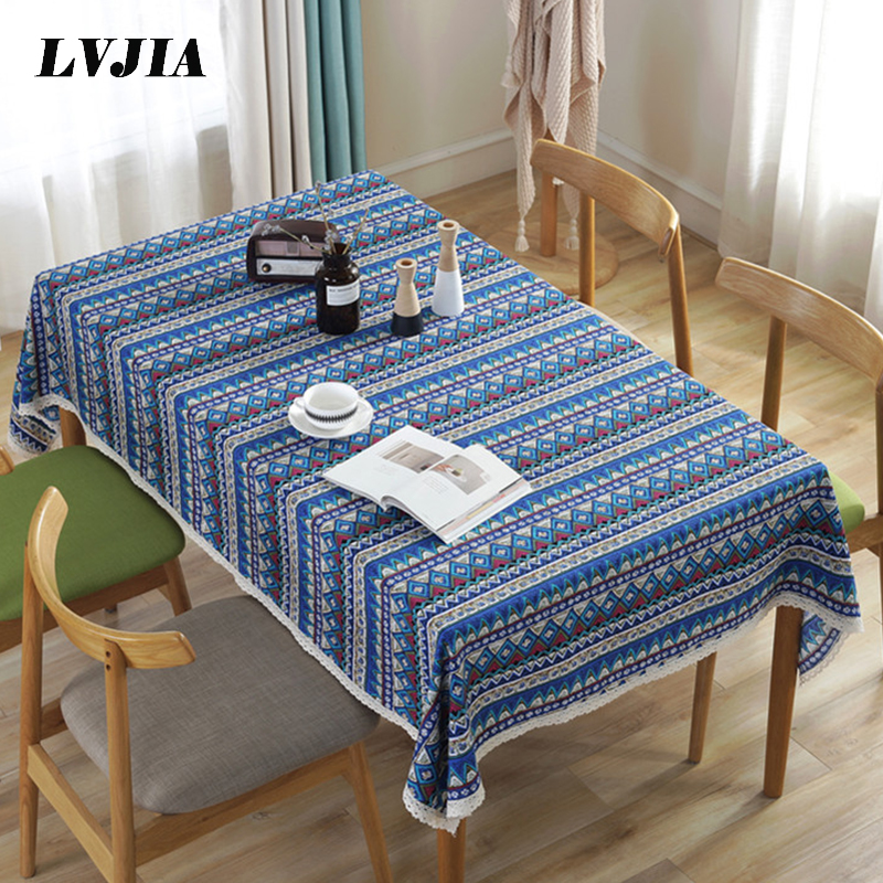 Bohemian Tablecloth National Wind Table Cloth with lace Rectangle Linen Decorative Dining Kitchen Table Cover ZBLX003 image