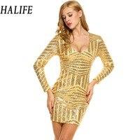 HALIFE Kobiety Bandaż Mini Złota Sukienka Klub Sexy Szata Party Sukienka Z Długim Rękawem Olśniewająca Glitter 2018 Runway Winter Suknie Vestidos