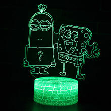 Bob esponja e Asseclas tema 3D 7 Da Lâmpada LED night light Color Change Lâmpada Toque de Humor presente de Natal Dropshippping(China)