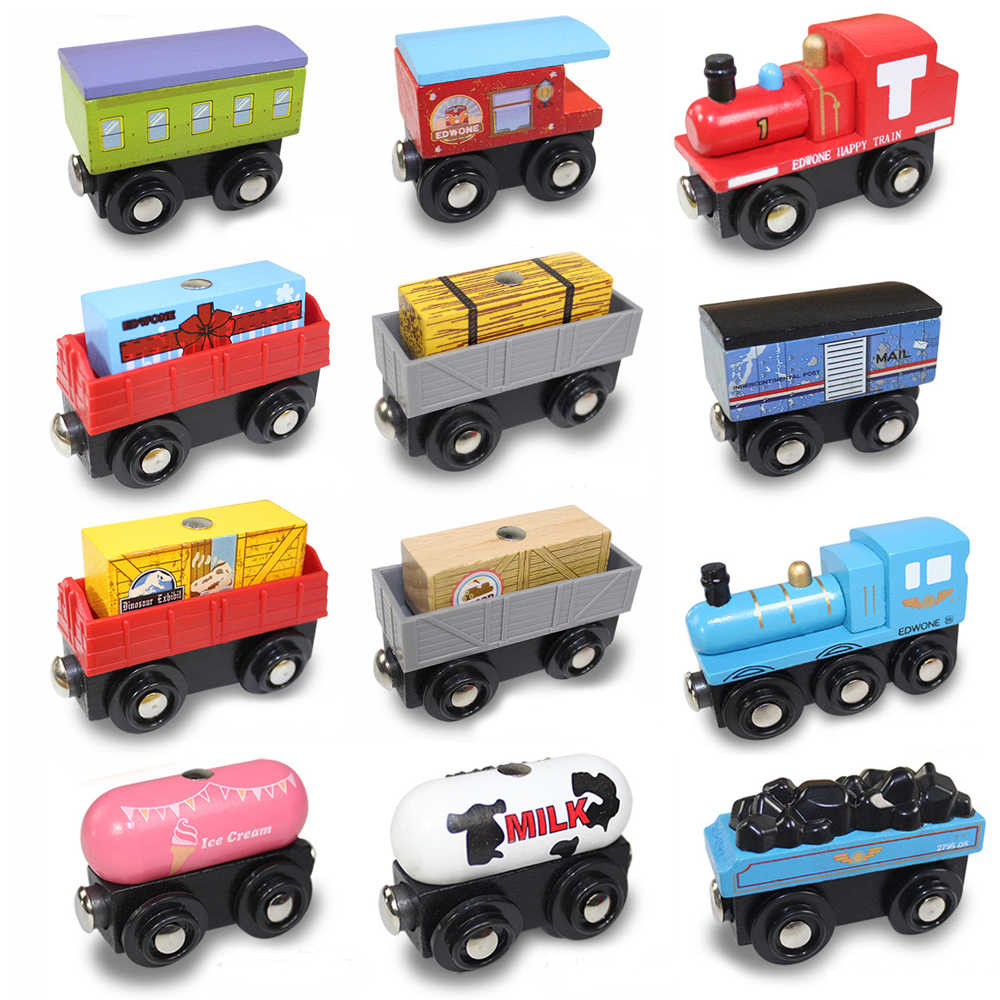 EDWONE wooden magnetic train for brio wooden tracks can be connected to the train variety wooden train