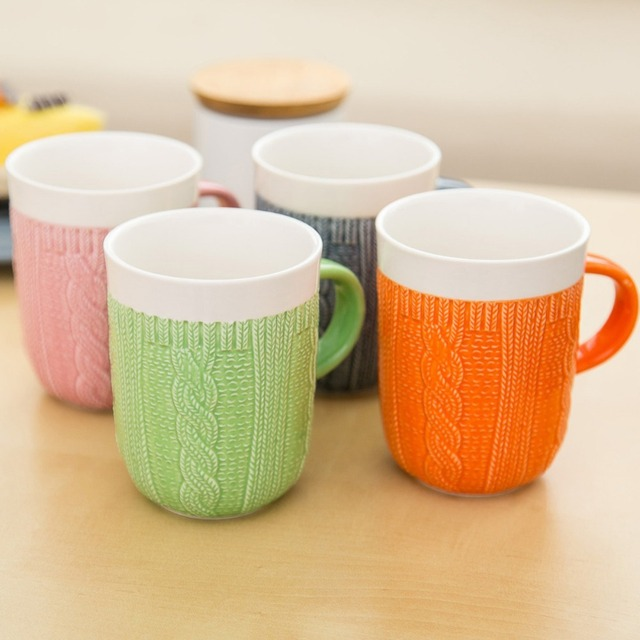1Pcs New KEYAMA Candy colors Multicolor simulation wool ceramic breakfast  milk mugs Office coffee tea cup