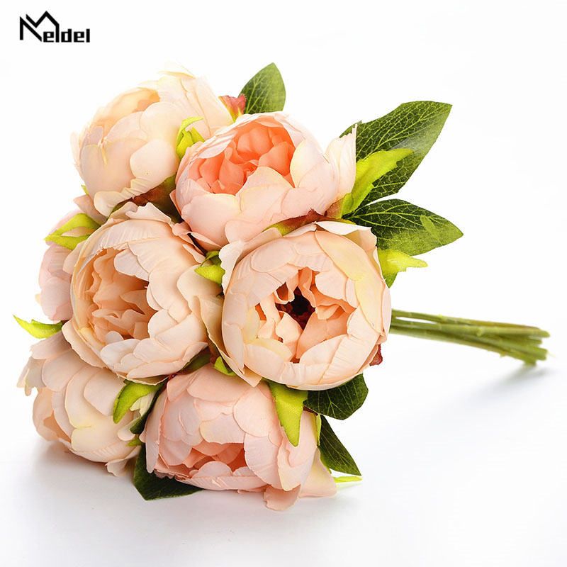 Meldel Bridal Wedding Bouquet Artificial Silk Rose Peony 7 Heads Flower Pink Bridesmaid Bouquet DIY Party Prom Wedding Supplies