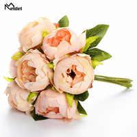 Meldel Bridal Wedding Bouquet Artificial Silk Rose Peony 7 Heads Flower Pink Bridesmaid Bouquet DIY Party Prom Wedding Supplies