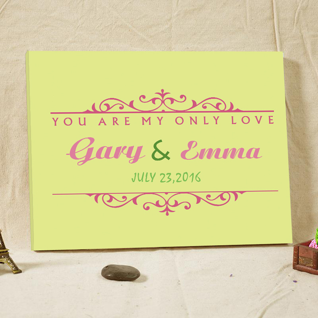 2016 Creative Wedding Present Guest Book Wood Framed Quotes Canvas ...