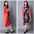Maternity Clothes 2017 New Retro Stitching O-neck National Loose Long-sleeved Cotton Linen Dresses for Pregnant Women YFQ021