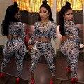Sexy lace malha macacão bodysuit mulheres plus size verão 2017 manga comprida imprimir night club wear two piece bodycon macacão NX120