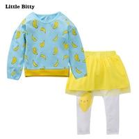 Girls Clothing Sets Autumn Cotton Sportswear Long Sleeve Banana Print T Shirt Yellow Gauze Pants 2Pcs