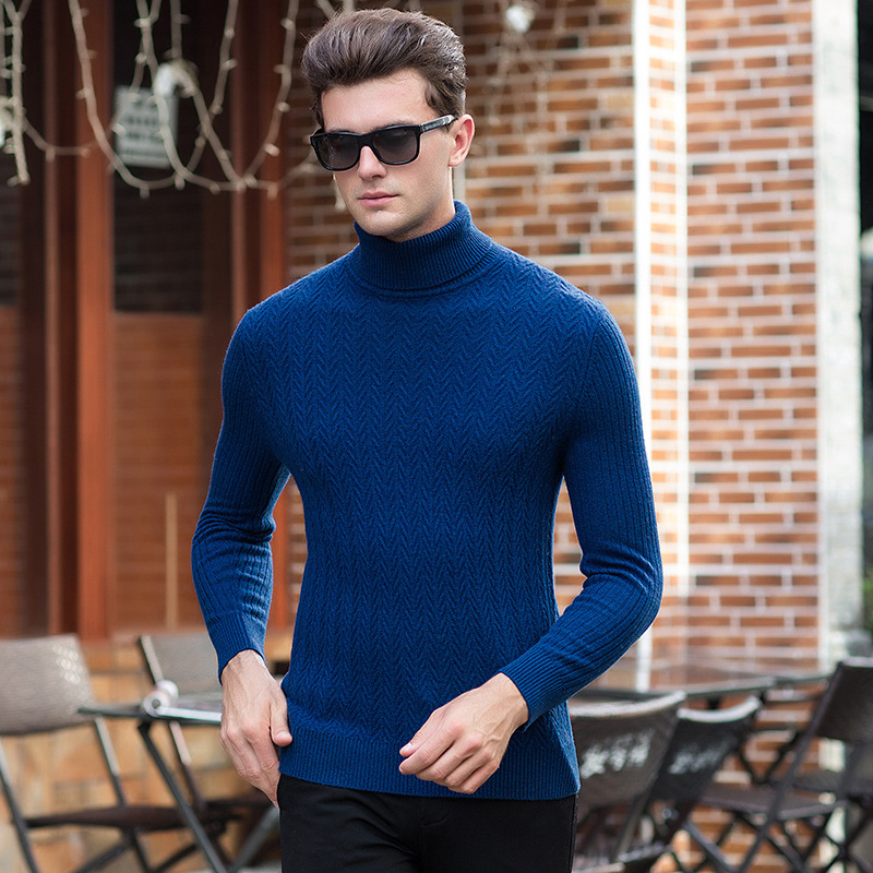 100% wool sweater men 2018 Fall winter high quality fashion new men's striped turtleneck pullovers